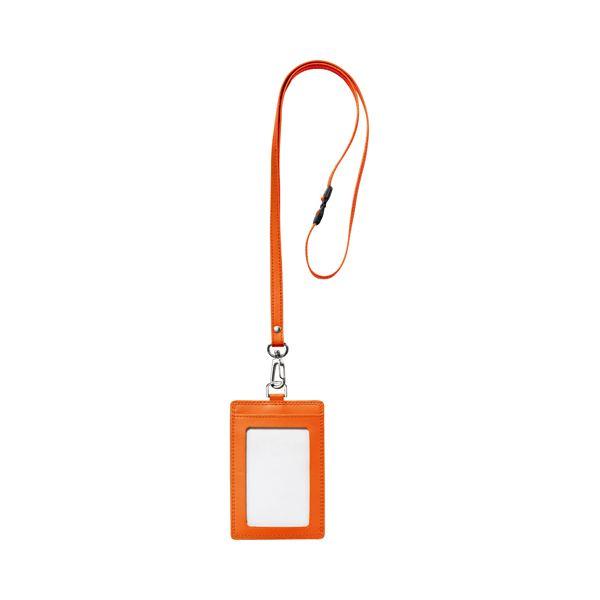 (まとめ) フロント 本革 レザー 製ネームカードホルダー タテ型 ストラップ付 オレンジ RLNH-S-O 1個 【×10セット】