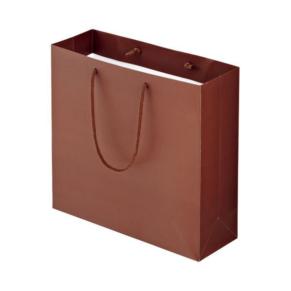 (まとめ) TANOSEE マットコート手提げ袋 M ヨコ320×タテ300×マチ幅110mm ブラウン 1パック(10枚) 【×10セット】 茶