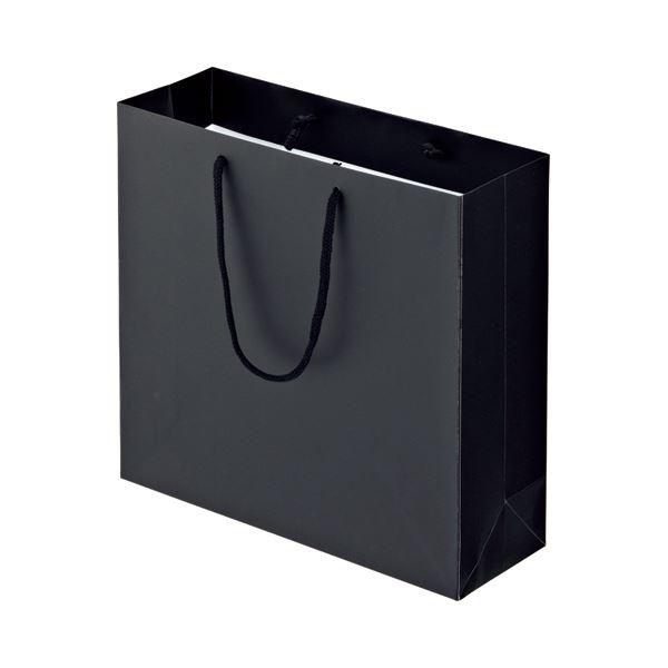 (まとめ) TANOSEE マットコート手提げ袋 M ヨコ320×タテ300×マチ幅110mm ブラック 1パック(10枚) 【×10セット】 黒