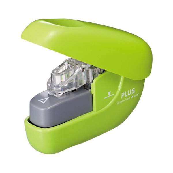 (まとめ) プラス 針なしホッチキスペーパークリンチ 6枚とじ グリーン SL-106NB 1個 【×30セット】 緑