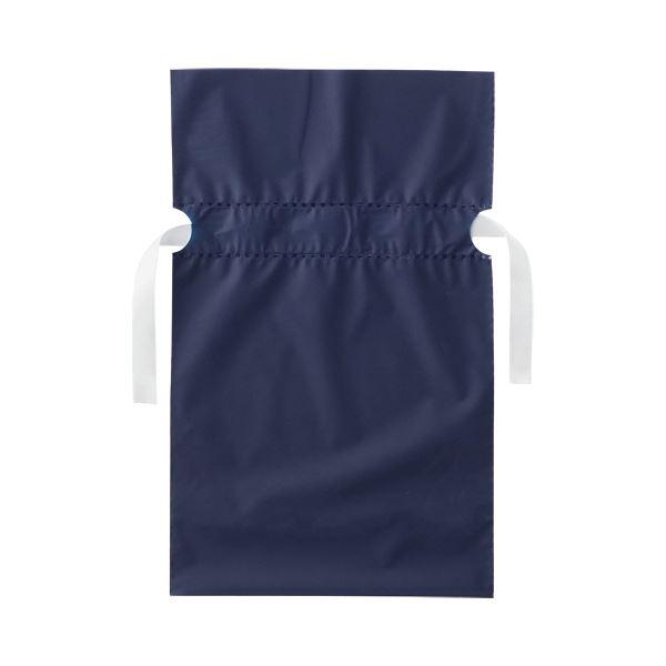 (まとめ)店研創意 ストア・エキスプレス梨地リボン付ギフトバッグ ネイビー 17cm 1パック(20枚)【×10セット】