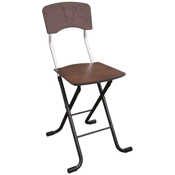 折りたたみ椅子 (イス チェア) 【2脚セット ダークブラウン×ブラック】 幅40cm 日本製 国産 金属 スチール パイプ 『レイラチェア (イス 椅子) 』 黒 茶