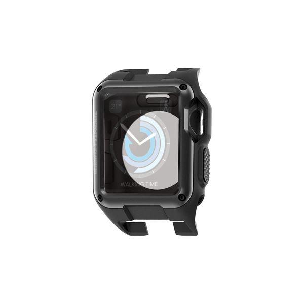 (まとめ) Apple Watch 42mm/ZEROSHOCKケース/ブラック AW-42ZEROBK【×2セット】 黒