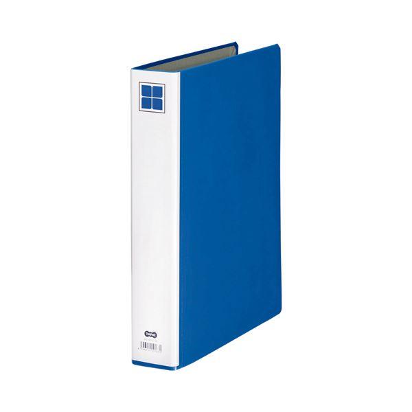 (まとめ) TANOSEE 片開きパイプ式ファイルE A4タテ 300枚収容 背幅56mm 青 1セット(10冊) 【×5セット】