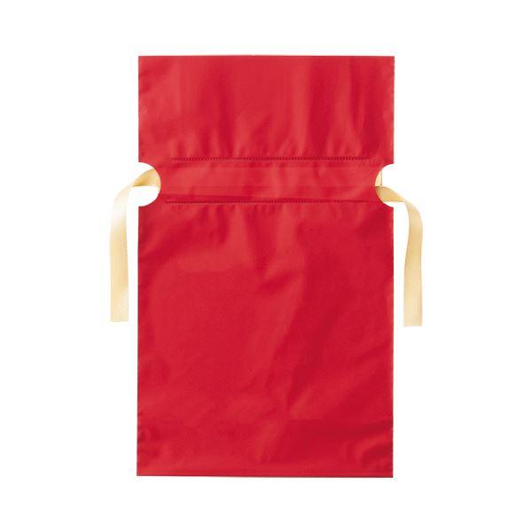 (まとめ)店研創意 ストア・エキスプレス梨地リボン付ギフトバッグ レッド 17cm 1パック(20枚)【×10セット】 赤