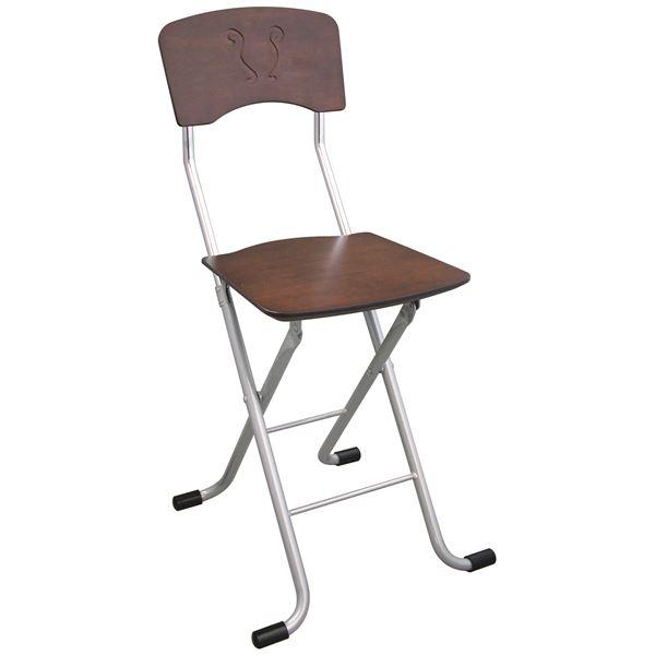 折りたたみ椅子 (イス チェア) 【2脚セット ダークブラウン×シルバー】 幅40cm 日本製 国産 金属 スチール パイプ 『レイラチェア (イス 椅子) 』 茶