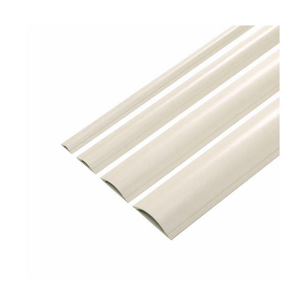 (まとめ) ケーブル 配線 カバー幅90mm×長さ1m アイボリー CA-R90 1本 【×10セット】 乳白色