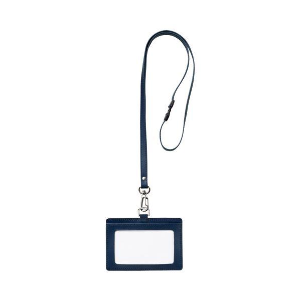 (まとめ) フロント 本革 レザー 製ネームカードホルダー ヨコ型 ストラップ付 ブルー RLNH-E-B 1個 【×10セット】 青