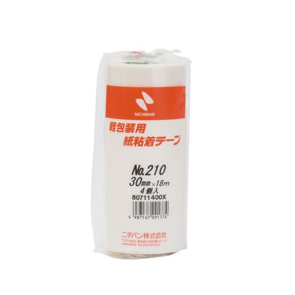 (まとめ)ニチバン 紙粘着テープ 210-30 白 30mm×18m 4巻【×10セット】