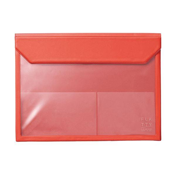 キングジム かさばらないバッグインバッグフラッティ A4ヨコ 赤 5366アカ 1セット(10個)