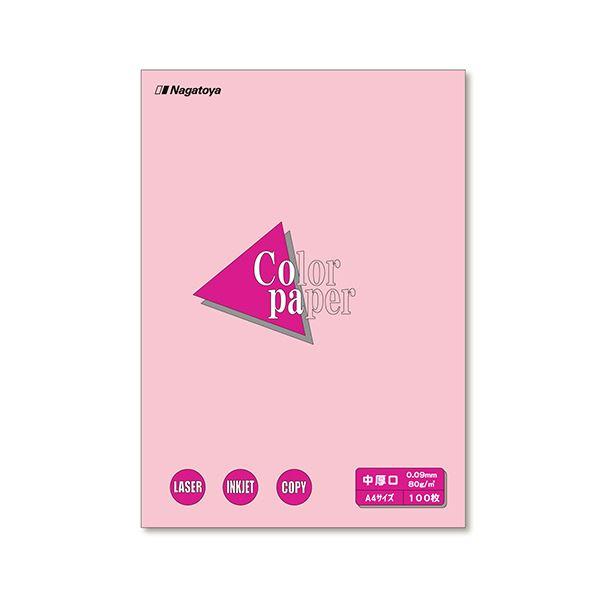 (まとめ) 長門屋商店 Color Paper A4 中厚口 桃 ナ-3221 1冊(100枚) 【×30セット】