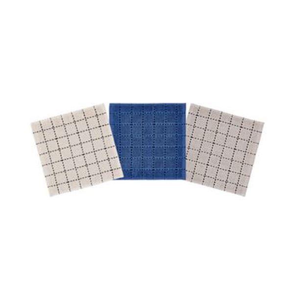 (まとめ)オカザキ ミニハンカチタオルブロックステッチ柄 1パック(3枚)【×20セット】