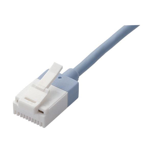 (まとめ) ツメ折れ防止スーパースリムLANケーブル 配線 Cat6A準拠 ブルー 0.5m LD-GPASST/BU05 1本 【×10セット】 青