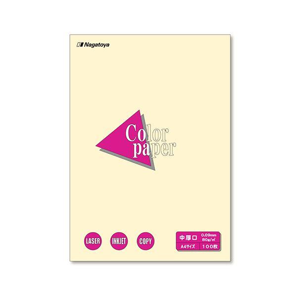 (まとめ) 長門屋商店 Color Paper A4 中厚口 レモン ナ-3202 1冊(100枚) 【×30セット】
