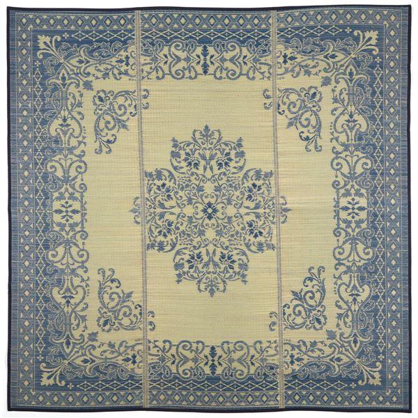 い草 ラグマット/絨毯 【約230×230cm ブルー】 表面:イ草100% 裏貼り 防キズ 湿度調整機能 『カノン』 〔リビング〕 青