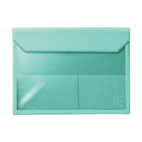 キングジム かさばらないバッグインバッグフラッティ A4ヨコ ミントグリーン 5366ミン 1セット(10個) 緑