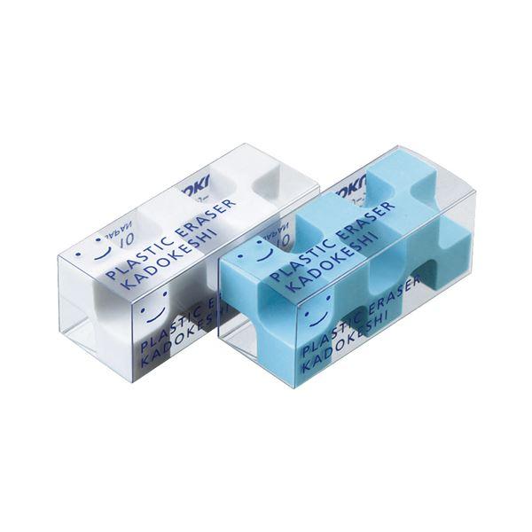 (まとめ) コクヨ 消しゴム カドケシプチ(ブルー・ホワイト) ケシ-U750-1 1パック(2個) 【×50セット】 白 青