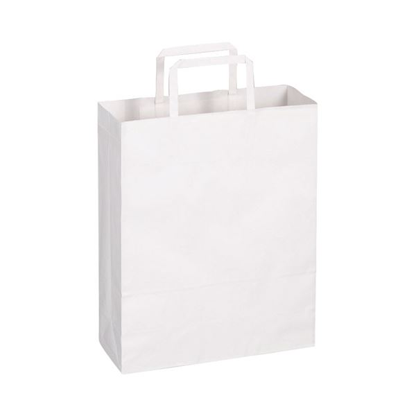 (まとめ)TANOSEE 紙手提袋 平紐 小ヨコ260×タテ320×マチ幅100mm 白無地 1パック(50枚)【×10セット】