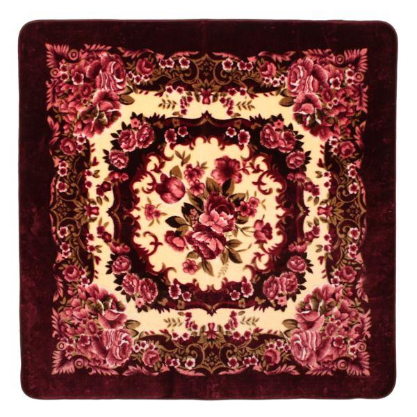 花柄 ラグマット じゅうたん 敷き物 /絨毯 【230cm×230cm ワインレッド】 長方形 ホットカーペット 床暖房対応 『リオ3』 赤