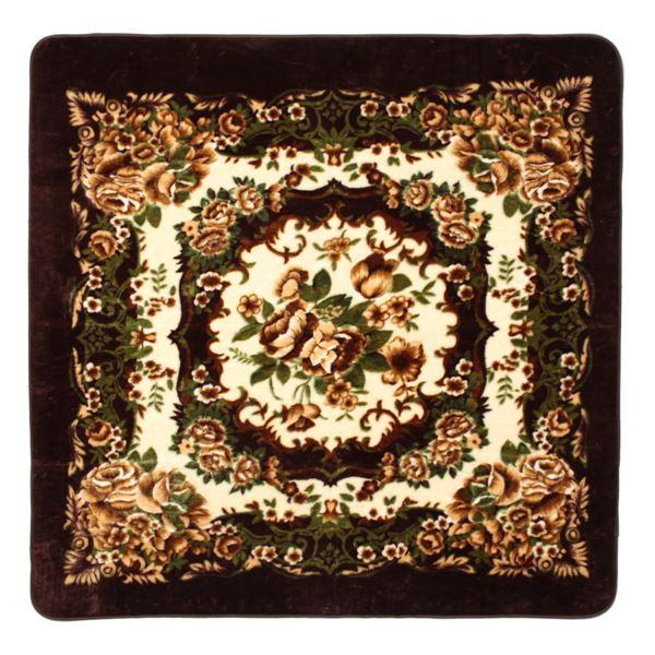 花柄 ラグマット じゅうたん 敷き物 /絨毯 【230cm×230cm ブラウン】 長方形 ホットカーペット 床暖房対応 『リオ3』 茶