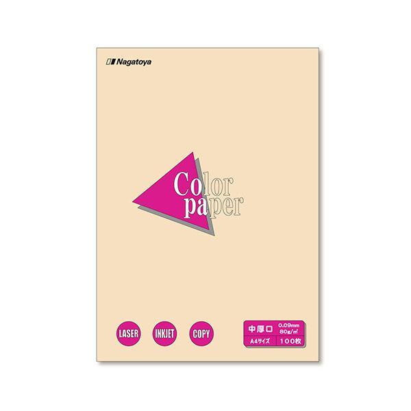 (まとめ) 長門屋商店 Color Paper A4 中厚口 アイボリー ナ-3215 1冊(100枚) 【×30セット】 乳白色