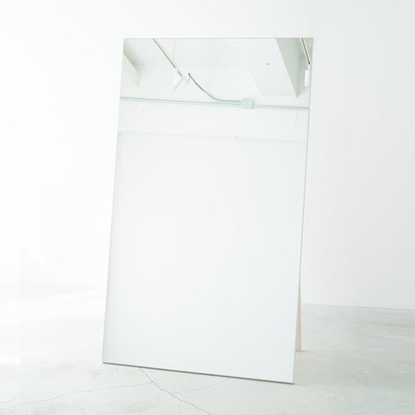 ワイドスタンドミラー(ホワイト/白) 幅90cm 木製/ノンフレーム/飛散防止加工/折りたたみ可/ヨガ/ダンス/北欧風/日本製/完成品/NK-9000 白