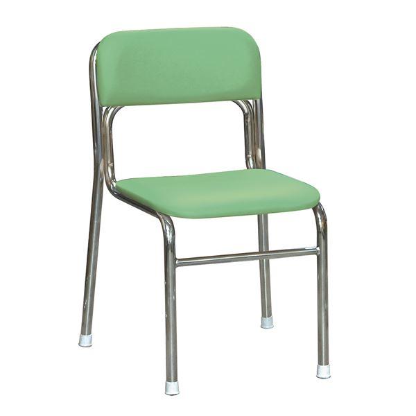 軽量 スタッキングチェア (イス 椅子) 【5脚セット グリーン×クロムメッキ 幅45cm 重さ4.5kg】 日本製 国産 防汚仕様 金属 スチール 『リブラ チェア 』 緑