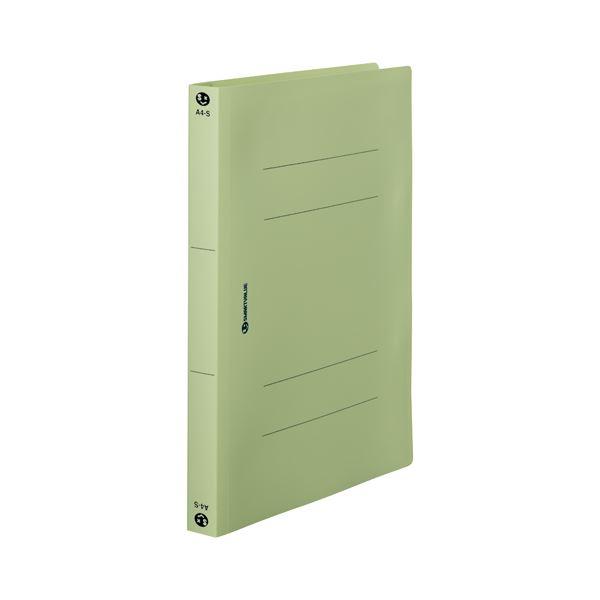 (まとめ) スマートバリュー PPフラットファイル厚綴A4S緑10冊 D080J-GR【×5セット】