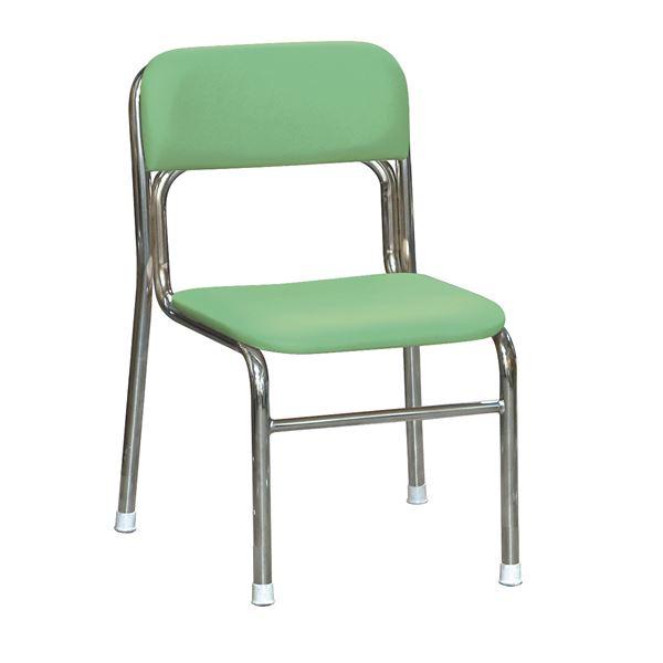 軽量 スタッキングチェア (イス 椅子) 【5脚セット グリーン×クロムメッキ 幅45cm 重さ4.3kg】 日本製 国産 防汚仕様 金属 スチール 『リブラ チェア 』 緑