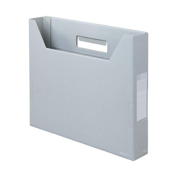(まとめ)プラス デジャヴカラーズシリーズボックスファイル スリム A4ヨコ 背幅50mm シルバーグレイ FL-022BF 1セット(10冊) 【×2セット】