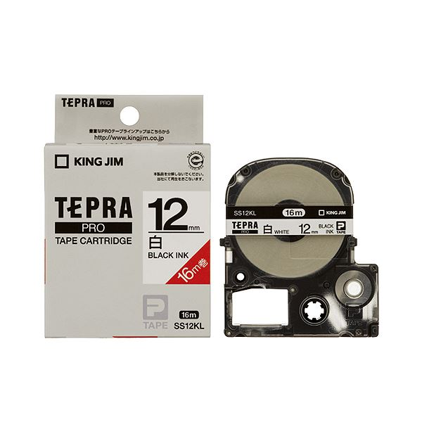 (まとめ) キングジム テプラ PRO テープカートリッジ ロングタイプ 12mm 白/黒文字 SS12KL 1個 【×10セット】