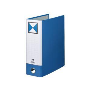 (まとめ) TANOSEE 片開きパイプ式ファイルKJ(指かけ穴付) A4タテ 800枚収容 背幅96mm 青 1冊 【×10セット】