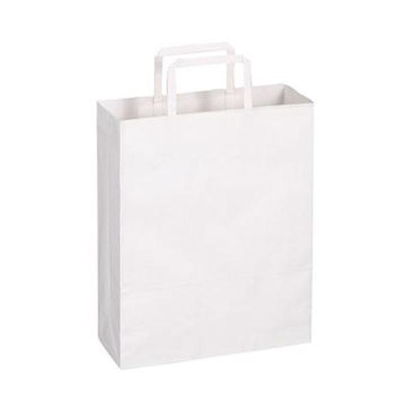 (まとめ)TANOSEE 紙手提袋 平紐 小ヨコ260×タテ320×マチ幅100mm 白無地 1パック(50枚)【×20セット】