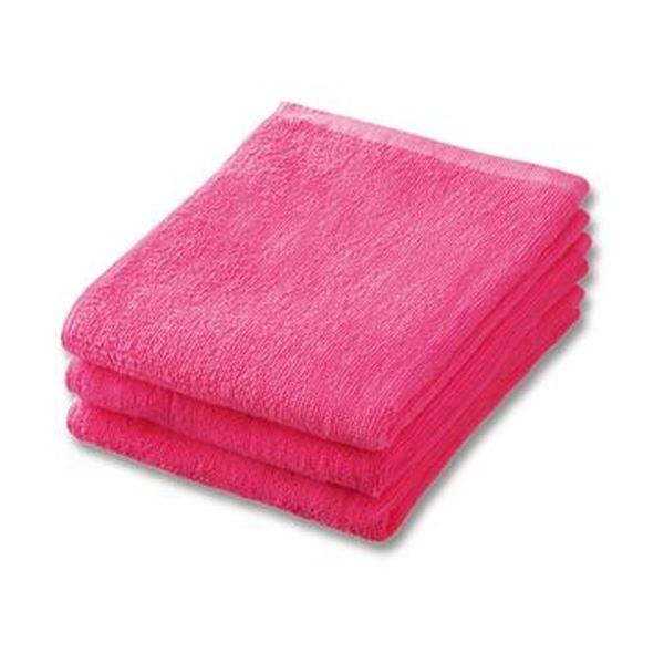 (まとめ)業務用スレンカラーフェイスタオル ピンク 1パック(3枚)【×20セット】
