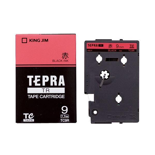 (まとめ) キングジム テプラ TR テープカートリッジ パステル 9mm 赤/黒文字 TC9R 1個 【×10セット】