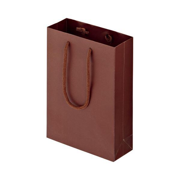 (まとめ) TANOSEE マットコート手提げ袋 SS ヨコ180×タテ250×マチ幅70mm ブラウン 1パック(10枚) 【×10セット】 茶