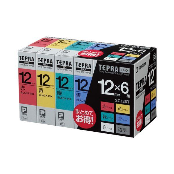 (まとめ)キングジム テプラ PRO テープカートリッジ ベーシックパック 12mm 赤・黄・緑・青・白・透明/黒文字 SC126T 1パック(6個:各色1個)【×3セット】