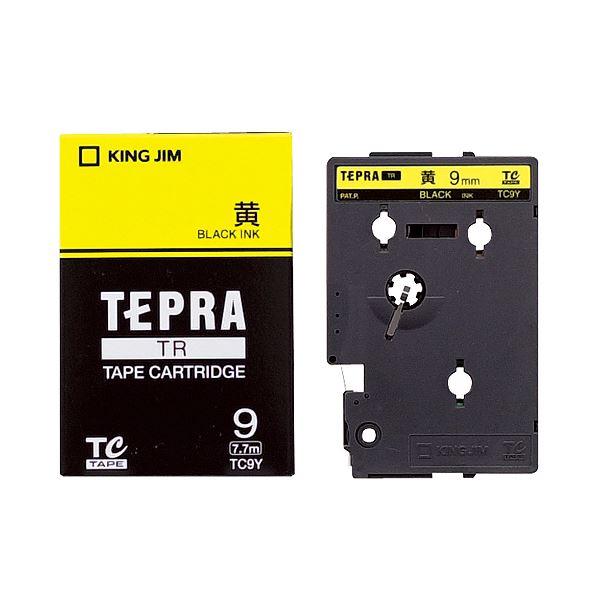(まとめ) キングジム テプラ TR テープカートリッジ パステル 9mm 黄/黒文字 TC9Y 1個 【×10セット】