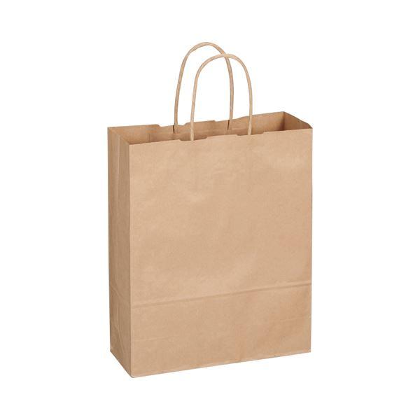 (まとめ) TANOSEE 紙手提袋 丸紐 小 ヨコ260×タテ320×マチ幅100mm 茶 1パック(50枚) 【×10セット】