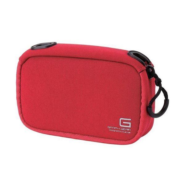 高級コンパクトカメラが入る大型サイズ。伸縮素材でカメラにぴったりフィット。 (まとめ) デジタルカメラケースGRAPH GEAR ソフトタイプ レッド DGB-062RD 1個 【×10セット】 赤