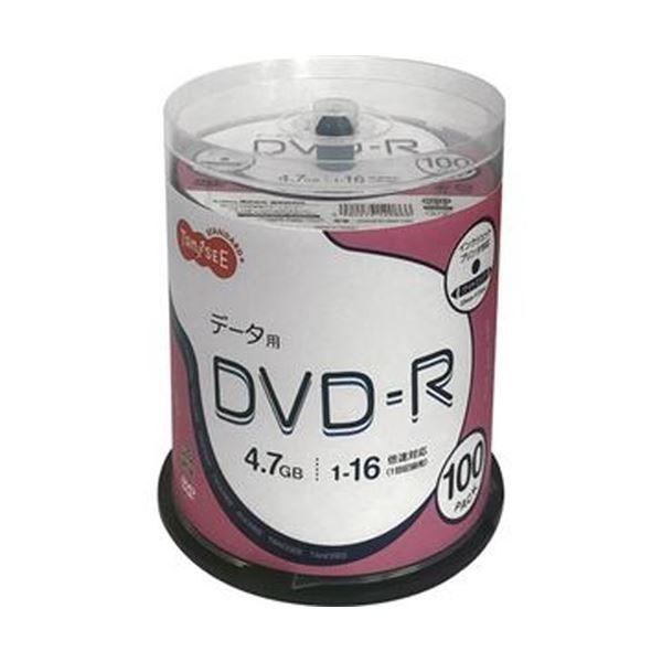 (まとめ)TANOSEE データ用DVD-R4.7GB 1-16倍速 ホワイトワイドプリンタブル スピンドルケース 1パック(100枚)【×5セット】 白