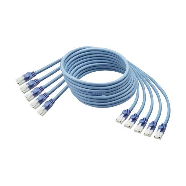 (まとめ)TANOSEE爪折れ防止LANケーブル 配線 (CAT6) ブルー 10m 1パック(5本)【×3セット】 青