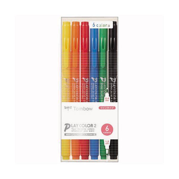 (まとめ) トンボ鉛筆 水性カラーサインペンプレイカラー2 6色(各色1本) GCB-611 1パック 【×30セット】