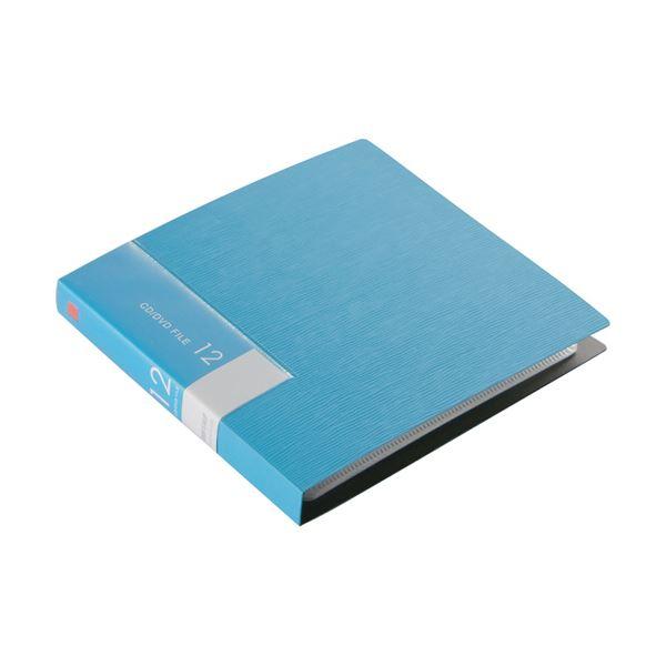 (まとめ)バッファローCD&DVDファイルケース ブックタイプ 12枚整理 収納 ブルー BSCD01F12BL 1個【×30セット】 青