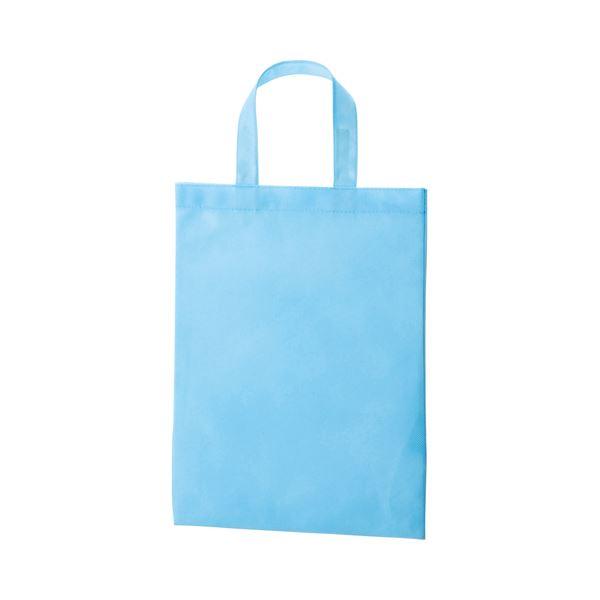 (まとめ) TANOSEE 不織布バッグ A4 マチ無 ヨコ270×タテ350mm スカイブルー 1パック(10枚) 【×10セット】 青