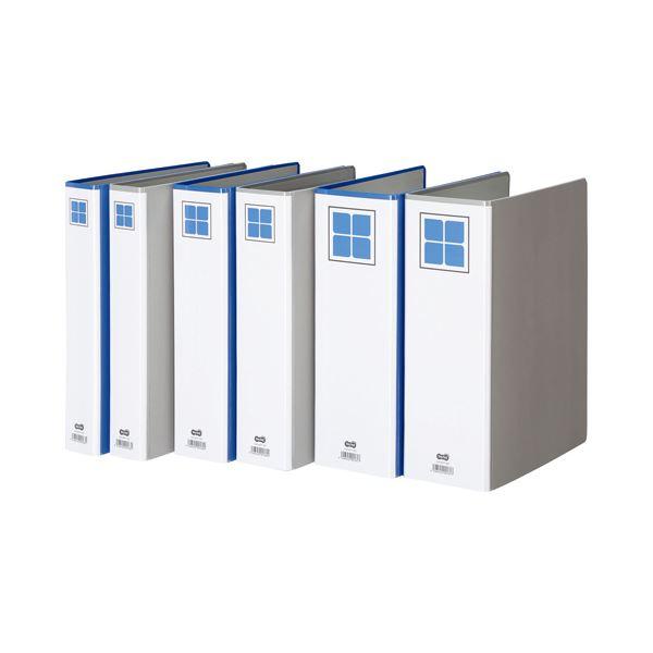 (まとめ) TANOSEE 両開きパイプ式ファイルE A4タテ 500枚収容 背幅76mm 青 1冊 【×30セット】