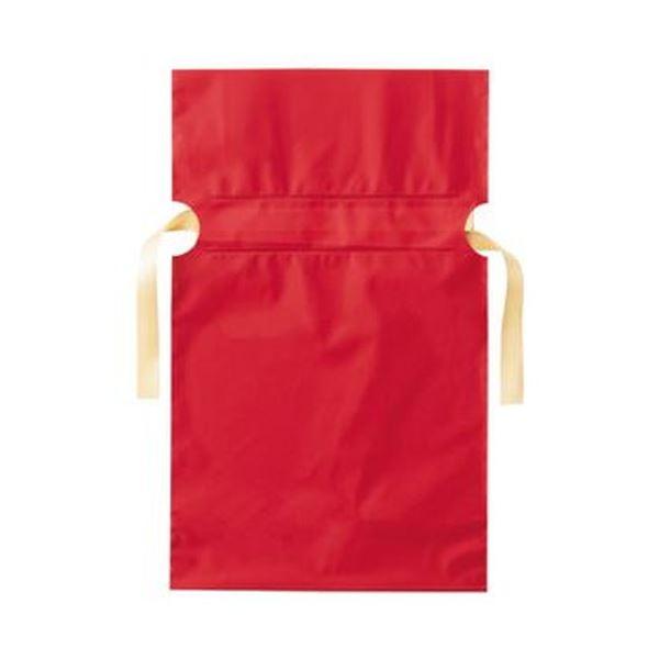 (まとめ)店研創意 ストア・エキスプレス梨地リボン付ギフトバッグ レッド 17cm 1パック(20枚)【×20セット】 赤