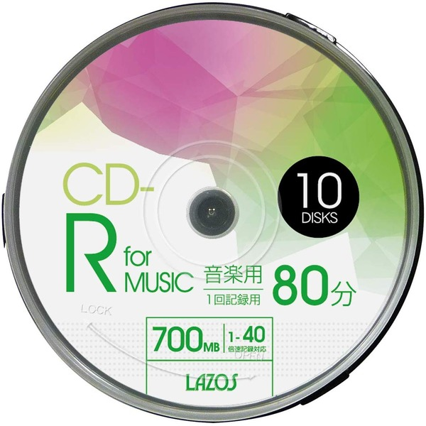LAZOS CD-Rメディア音楽用 40倍速 10枚スピンドル40個セット L-MCD10P-40P
