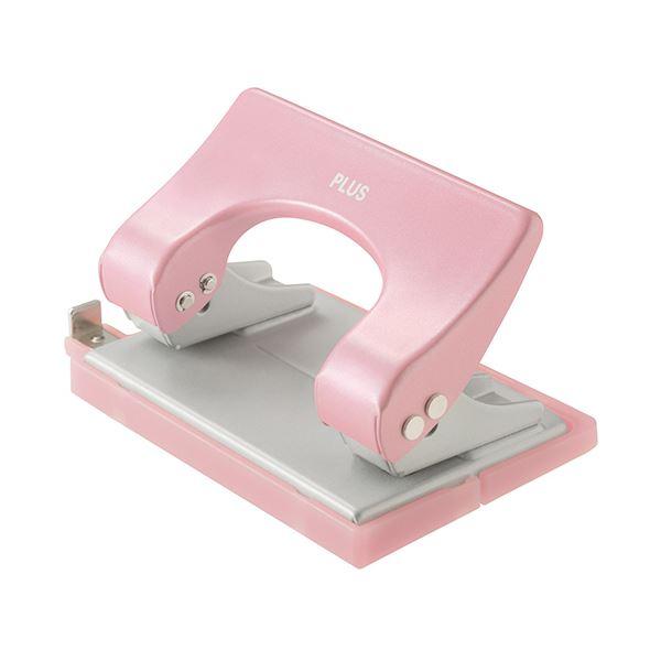 (まとめ) プラス 2穴パンチ フォース1/2Sサイズ 16枚穿孔 ピンク 紙箱入 PU-816A 1台 【×30セット】