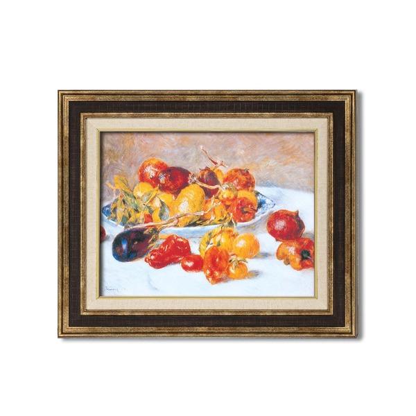 ダークブラウンアンティーク レトロ ヴィンテージ 額 【額装品】世界の名画9573 F6 ルノワール「南仏の果実」 茶